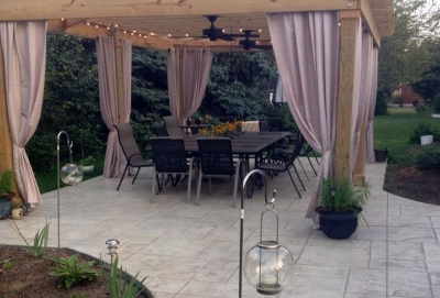 Custom Concrete Plus-stamped patio dining area in Columbus Ohio