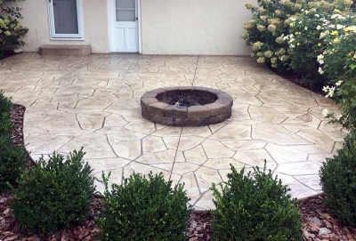 Custom Concrete Plus-stamped concrete patio and concrete steps in Columbus Ohio