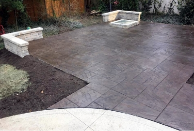 Custom Concrete Plus-stamped concrete patio-brush finish patio-fire pit- stacked concrete stone wall in Columbus Ohio