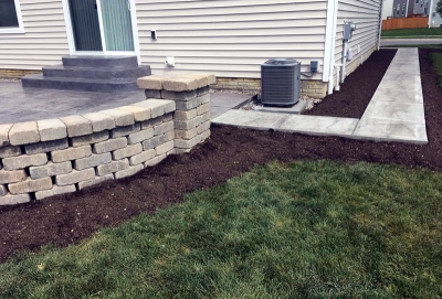 Custom Concrete Plus-stamped concrete patio- brushed concrete walkway- stacked concrete stone wall in Columbus Ohio